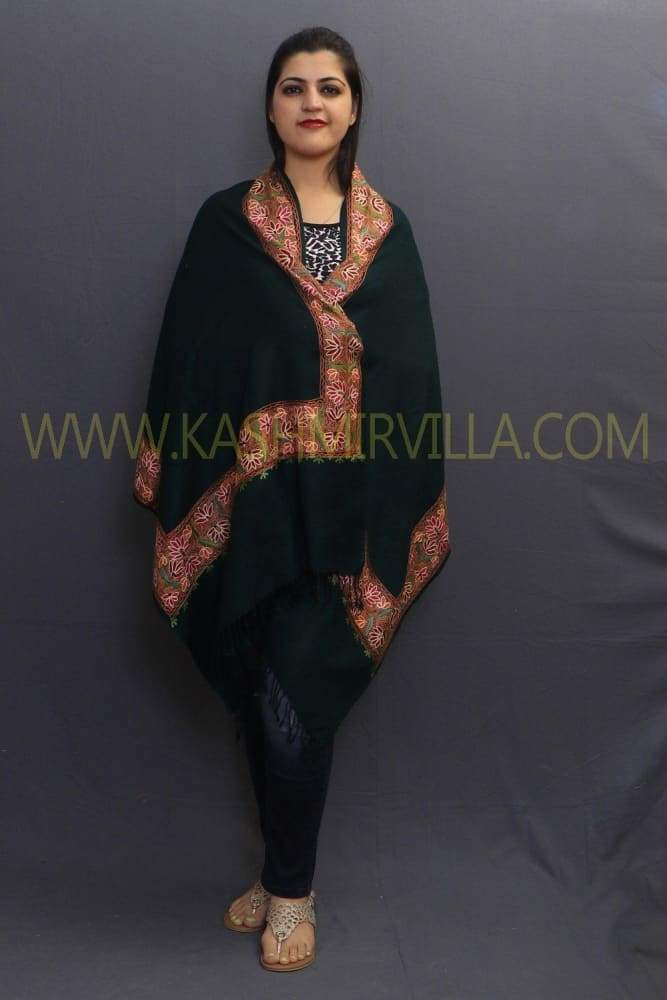 Bottle Green Colour Sozni Work Handwoven Stole On Pashmina