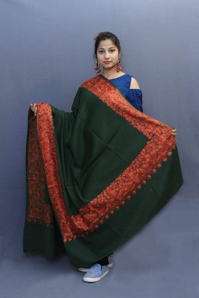 Bottle Green Colour Wrap With Rust Aari Embroidery Looks