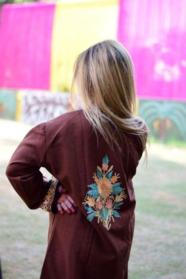 Brown Colour Aari Work Embroidered Jacket Designer Paisley