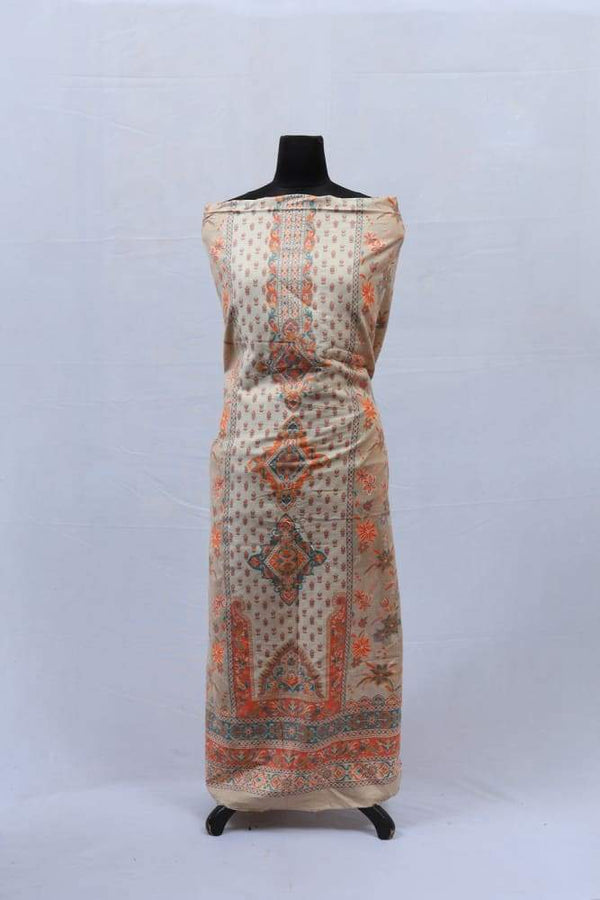 Brown Colour Cotton Kani Suit With Self Woven Embroidery
