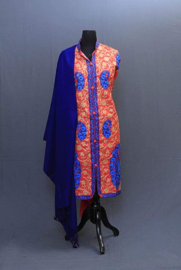 Carrot And Blue Colour Woolen Achkan Style Suit having