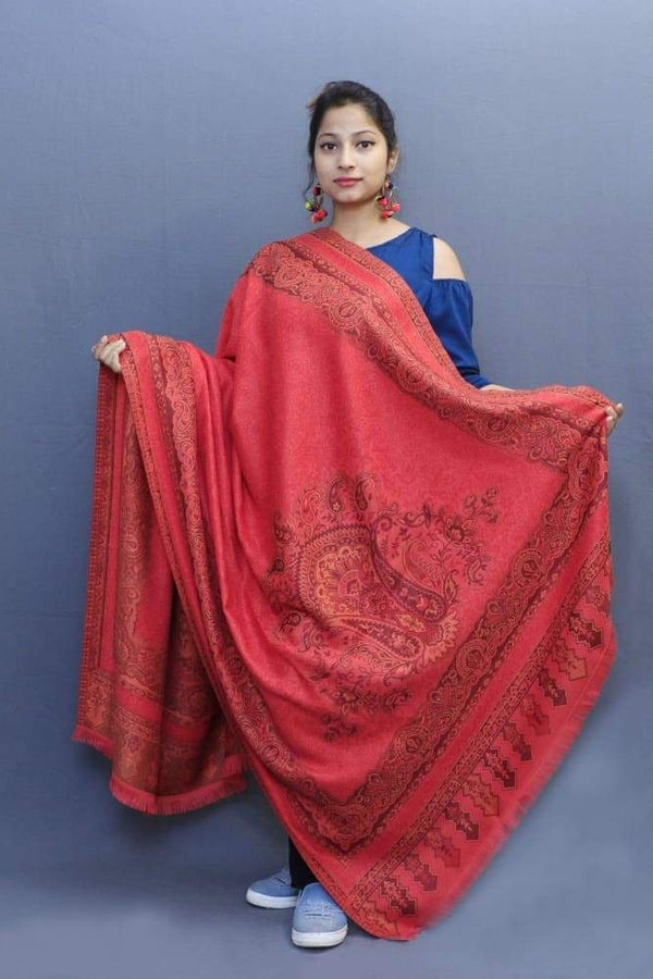 With Carrot Colour Base This Jamawar Shawl Highly Defined