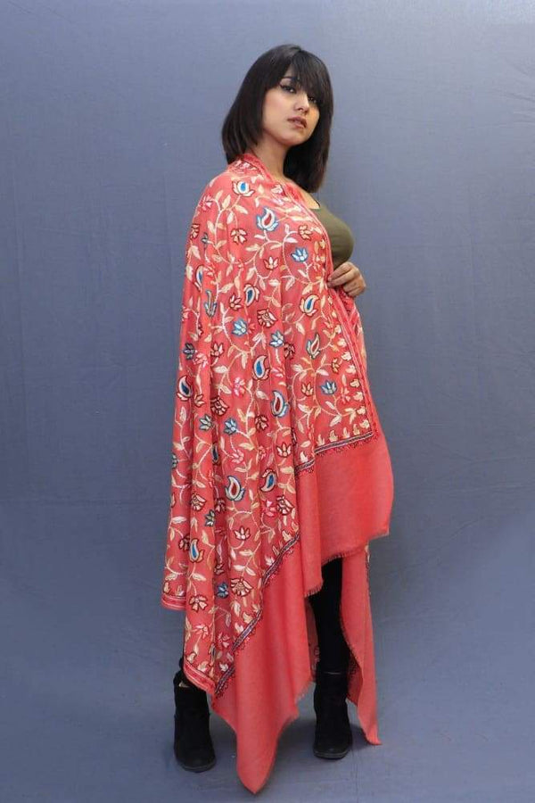 Carrot Colour Shawl With Amazing All Over Jaal Is A Perfect