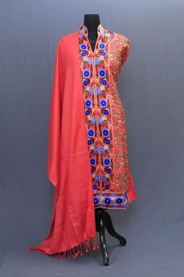 Carrot Colour Woolen Achkan Style Suit Having All Over