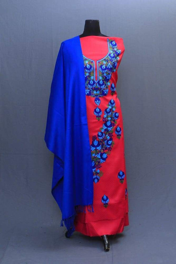 Carrot And RoyalBlue Colour Suit With Beautiful Concept Of