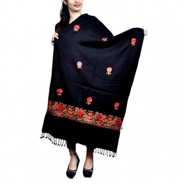 Charcoal Black Colour Aari Work Embroidered Stole With New