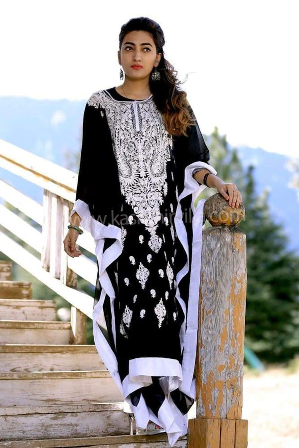 Charcoal Black Colour Georgette Kashmiri Aari Work Designer