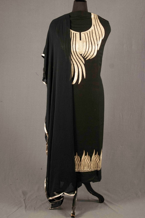Coal Black Colour Kashmiri Tilla Aari Work Salwar Kameez