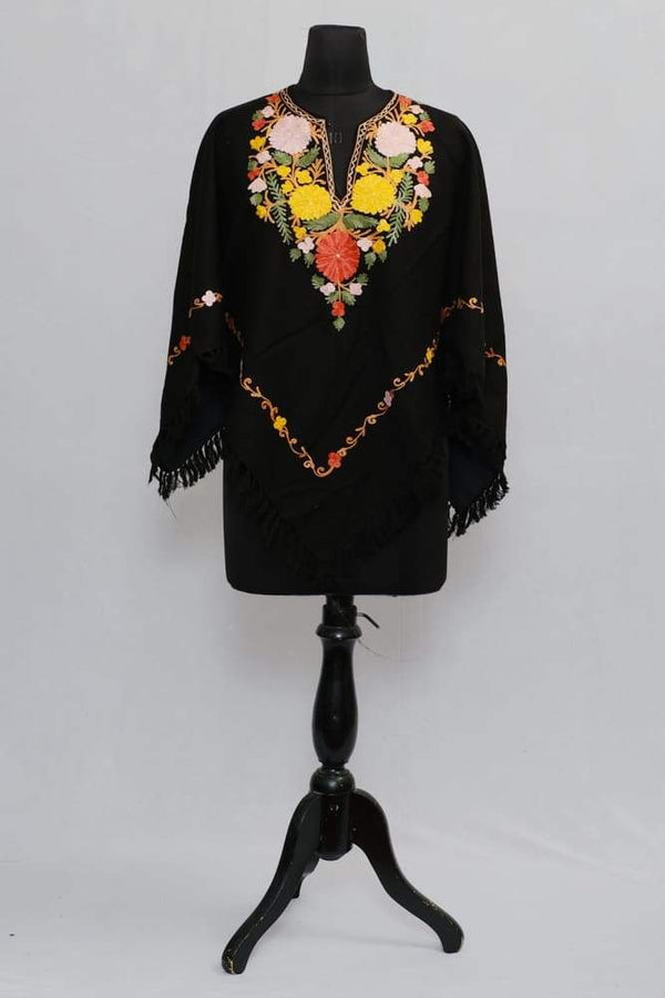 Coal Black Colour Ponchu With Elegant Kashmiri Embroidery.