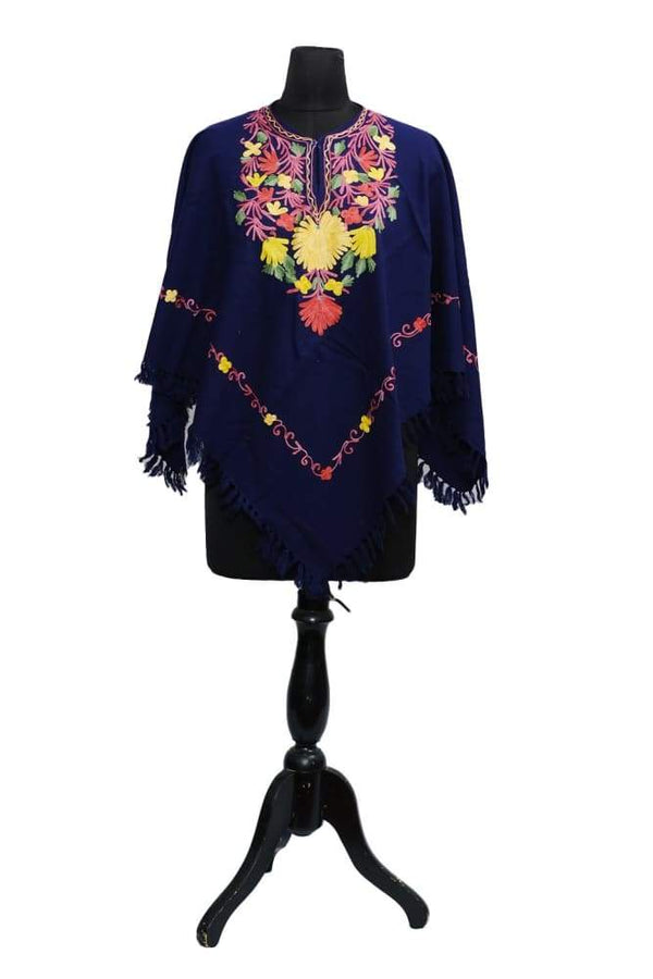 Dark Blue Colour Ponchu With Elegant Kashmiri Embroidery.