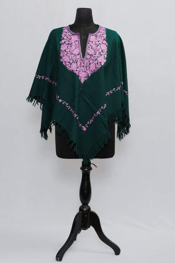 Dark Green Colour Ponchu With Elegant Kashmiri Embroidery.
