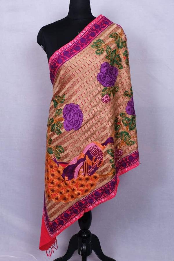 Dark Pink Colour Stole With Kashmiri Peacock Embroidery