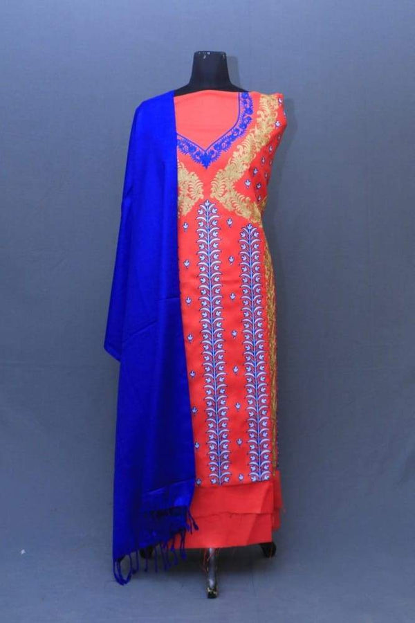 Dark Pink Colour Suit With Blue Stole Along Attractive
