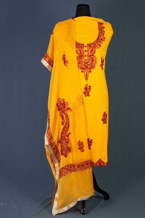 Dark Yellow Color Glace Cotton Kashmiri Embroidered Designer