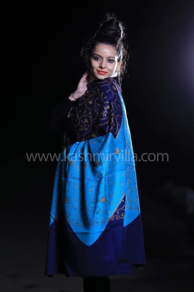 Family Of Blue Color Sozni Work Embroidered Shawl Enriched