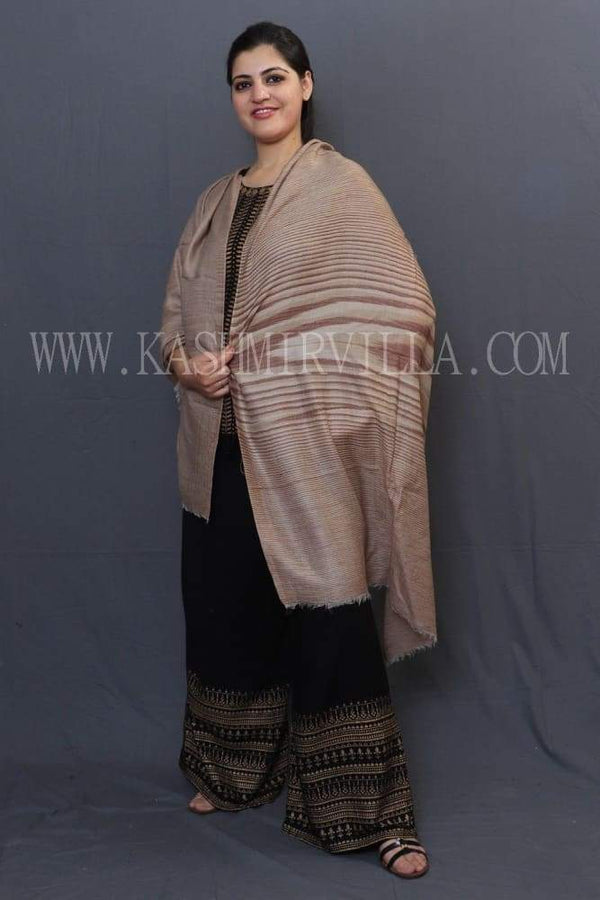 Fawn Colour Reversible Shawl With Beautiful One Sided