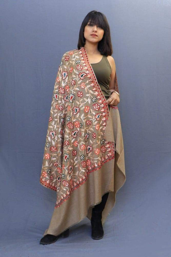 Fawn Colour Shawl With Amazing All Over Jaal Is A Perfect
