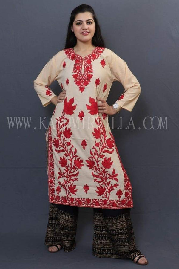 Fawn Cotton Kurti With Beautiful Aari Embroidery Gives