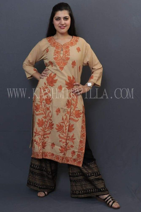 Fawn Cotton Kurti With Beautiful Orange Colour Aari