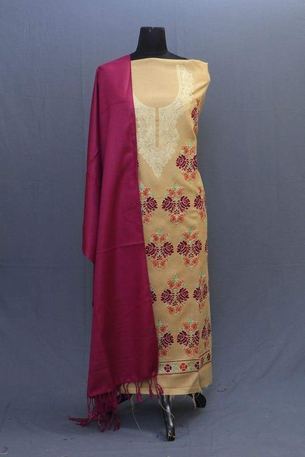 Fawn And Maroon Colour Woolen Suit With Bold Aari Motifs