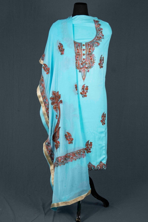 Firozi Blue Color Glace Cotton Kashmiri Embroidered Designer