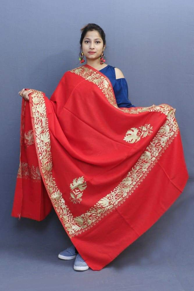 Flawless Red Color Kashmiri Tilla Work Embroidered Shawls