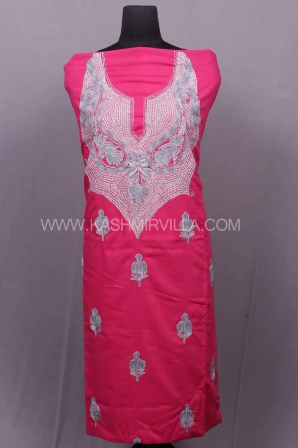 Fushia Pink Colour Cotton Suit With Combo Of Tilla And Aari