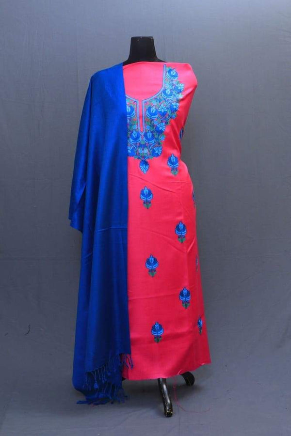 Fushia And Royal Blue Colour Woolen Suit With Embroiderd