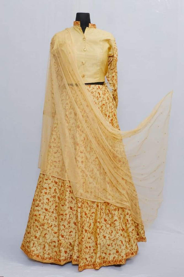 Golden Color Kashmiri Embroidered Skirt With Crop Top And