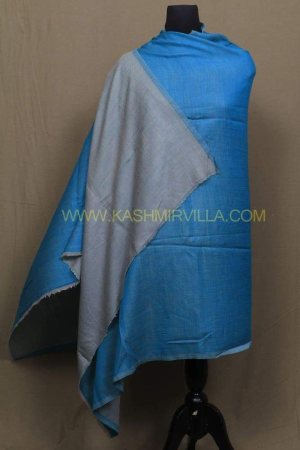 Gray And Turquoise Colour Reversible Pashmina Shawl.