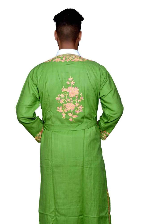 Green Color Kashmiri Embroidered Woolen Men's Gown / Robe