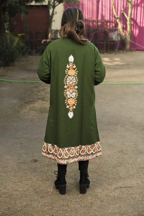 Green Colour Aari Work Embroidered Jacket With New Designer