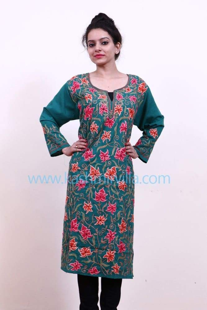 Green Colour Cotton Kurti With Multicolour Embroidered Jaal