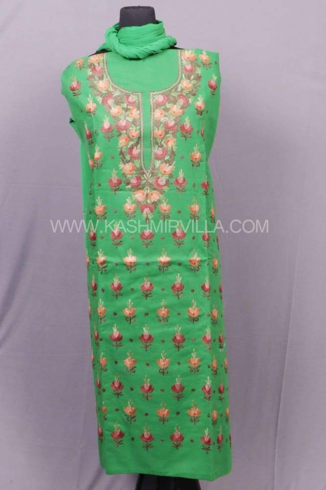 Green Colour Cotton Suit With Beautifully Designed Neck And