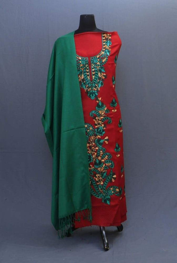 Green And Maroon Color Suit Having Aari Embroidery On Neck