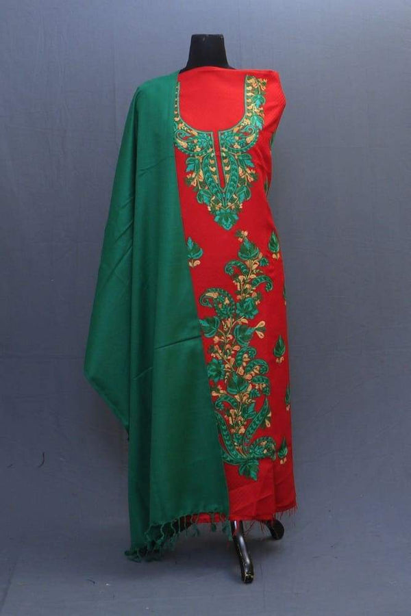 Green And Red Color Suit Having Aari Embroidery On Neck Bold