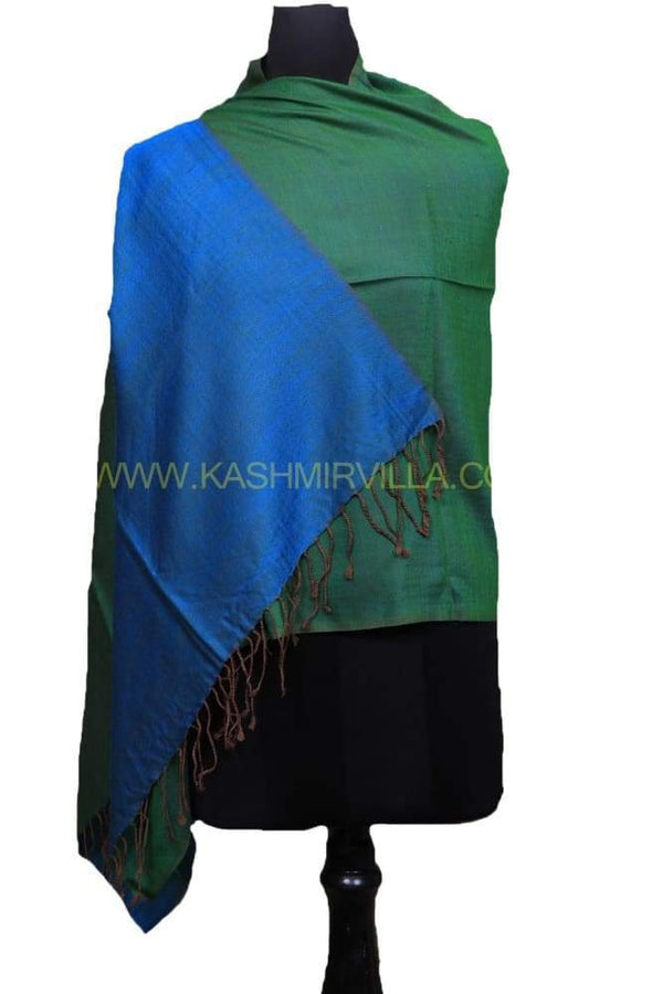 Green And Turquoise Colour Reversible Pashmina Shawl.