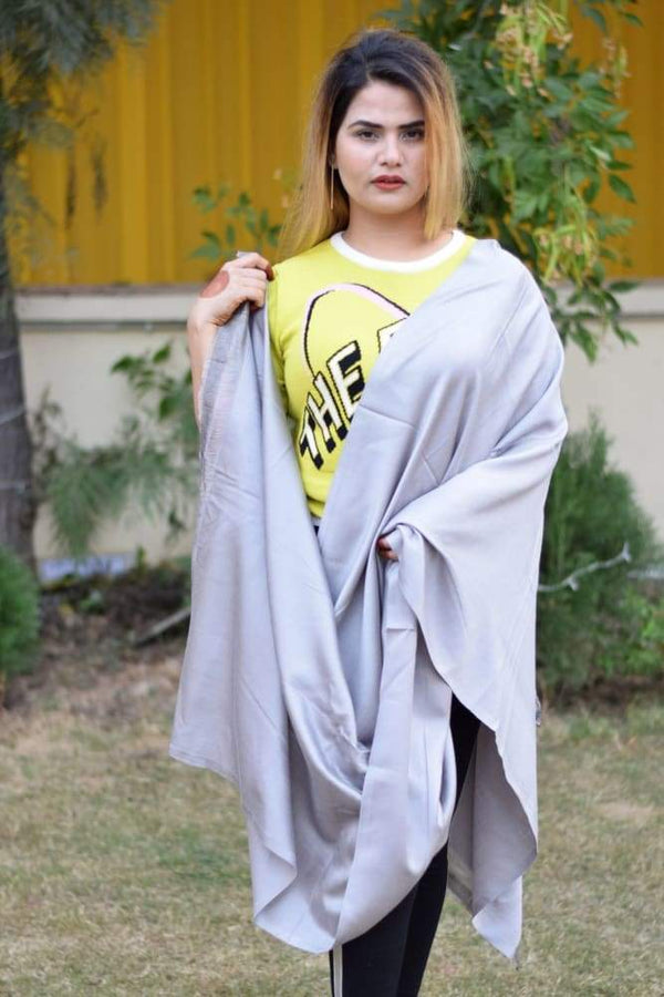 Grey Colour Designer Silky Wrap With Reversible Pattern