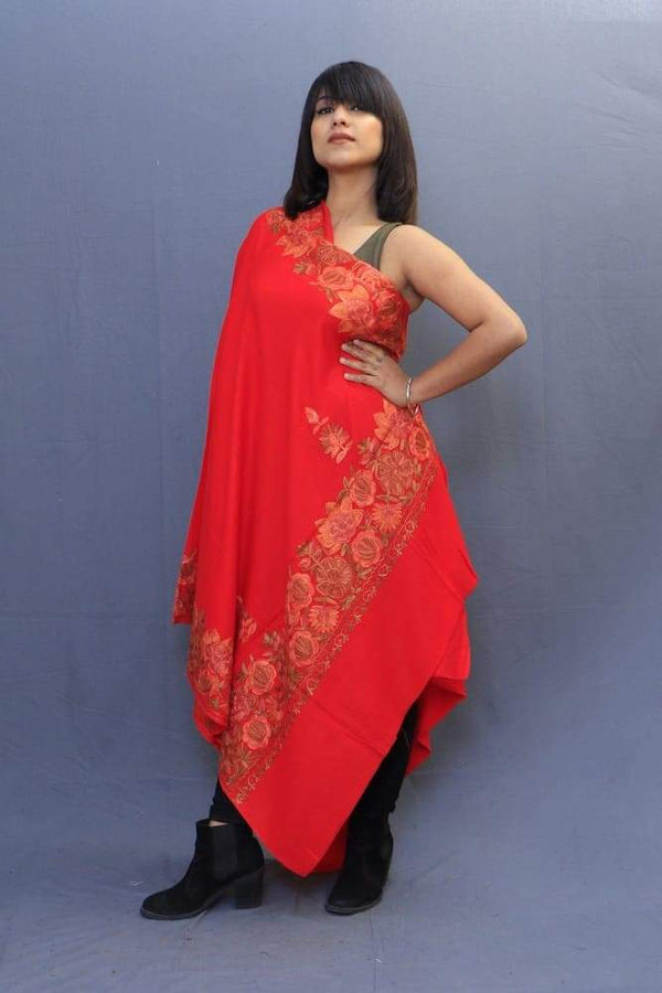 Hot Red Colour Stole With Kashmiri Four Sided Border Add
