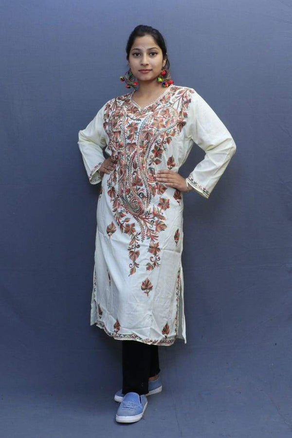 Lemon Colour Cotton Kurti With Fine Woven Kashmiri