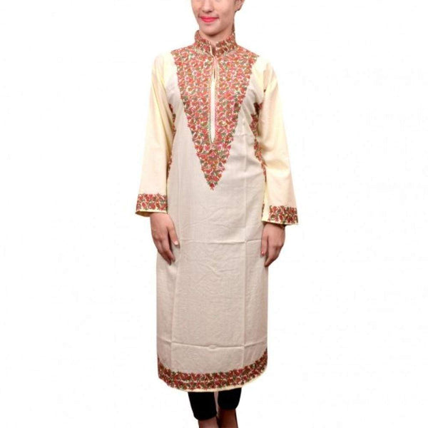Lemon Colour Kashmiri Aari Work Embroidered Kurti Enriched