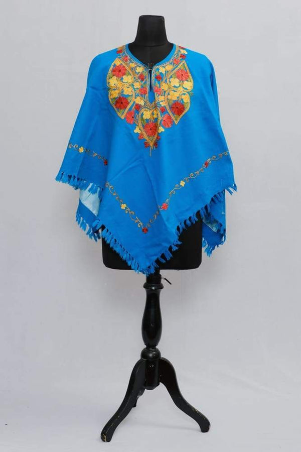 Light Blue Colour Ponchu With Elegant Kashmiri Embroidery.
