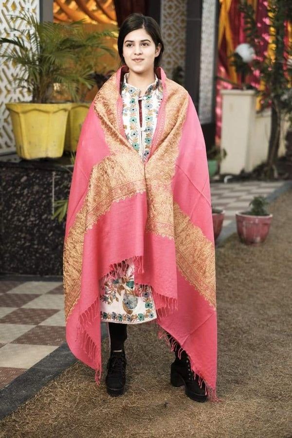 Light Pink Color Kashmiri Shawl With Tilla Work Gives A