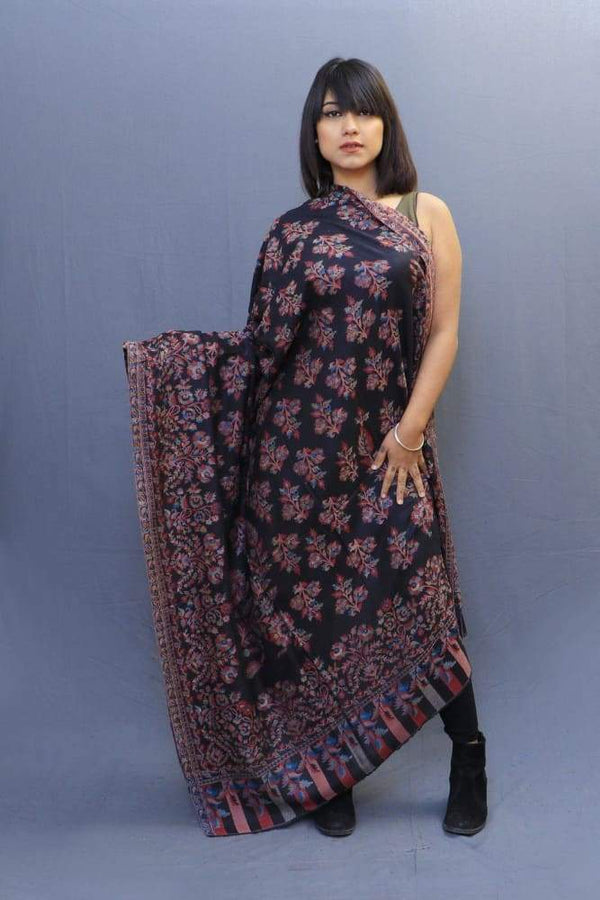 Magical Black Colour Kani Shawl With All Over Bold And Dense