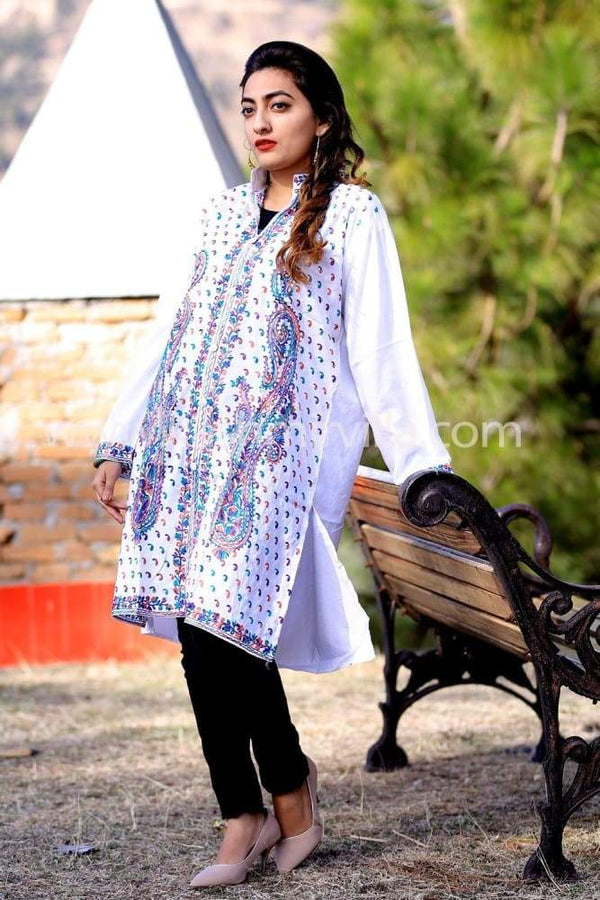 Magical White Color Kashmiri Aari Work Embroidered Kurti