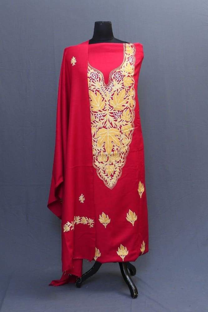 Majenta Colour Suit With Heavy Embroiderd Neck And Wonderful