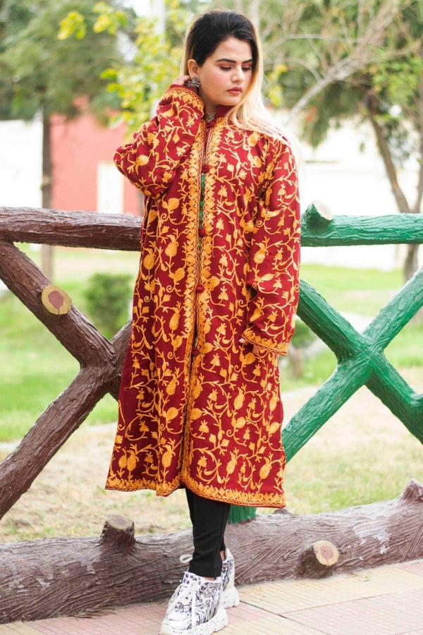 Maroon Color Aari Work Embroidered Jacket With New Designer