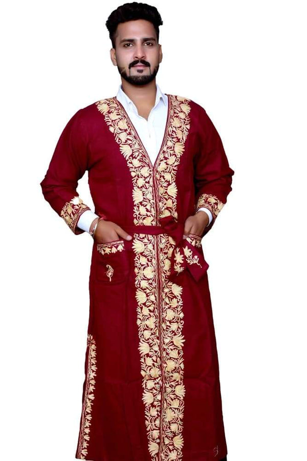 Maroon Color Kashmiri Embroidered Woolen Men's Gown / Robe