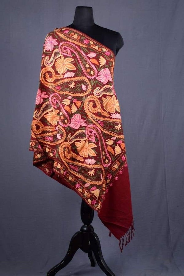 Maroon Color Kashmiri Work Embroidered Stole Enriched With