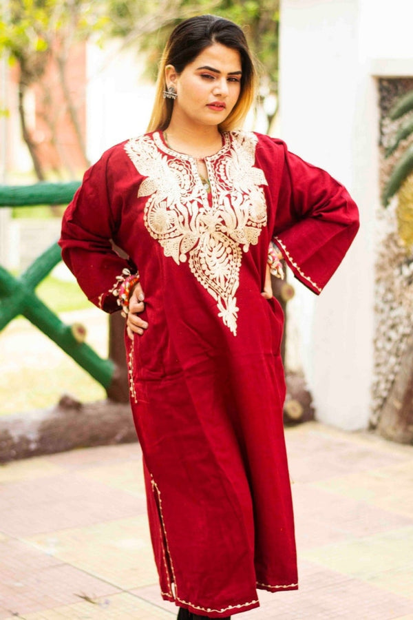 Maroon Color Kashmiri Zari Work Embroidered Phiran Enriched